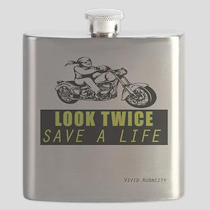 LOOK TWICE SAVE A LIFE Flask
