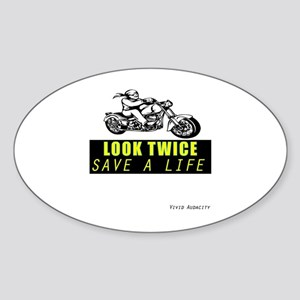 LOOK TWICE SAVE A LIFE Sticker (Oval)