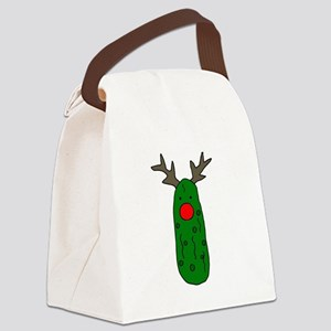 Funny Pickle Christmas Reindeer Canvas Lunch Bag