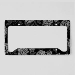 Black Dahlia Pattern License Plate Holder