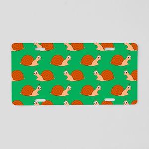 Cute Garden Snail Pattern Aluminum License Plate