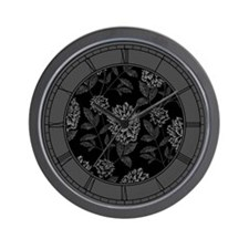 Black Dahlia Pattern Wall Clock
