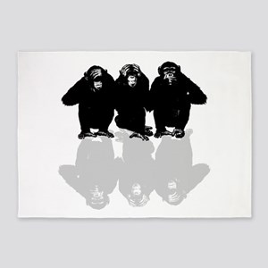 3 monkeys 5'x7'Area Rug