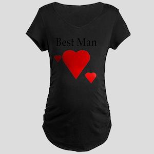 Triple Solid Hearts Maternity Dark T-Shirt