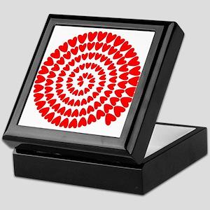 Red hearts spiral Keepsake Box