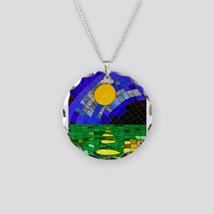 tmeret manymoons stained gla Necklace Circle Charm
