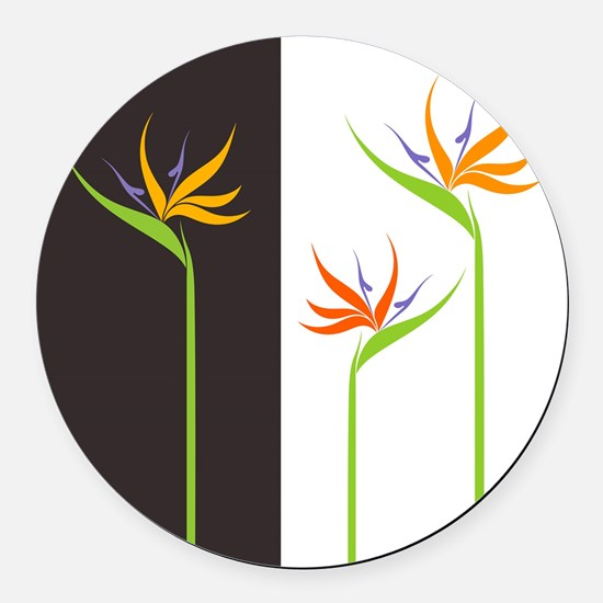 Bird of Paradise Flowers Round Car Magnet