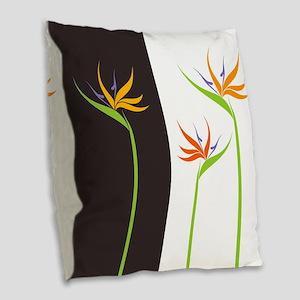 Bird of Paradise Flowers Burlap Throw Pillow