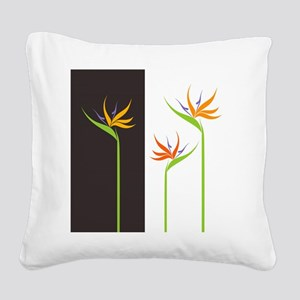 Bird of Paradise Flowers Square Canvas Pillow