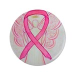 Breast Cancer Pink Awareness Ribbon Angel Button