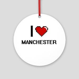 I love Manchester Digital Design Round Ornament