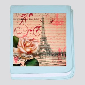 girly rose eiffel tower paris baby blanket