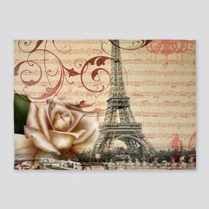 girly rose eiffel tower paris 5'x7'Area Rug