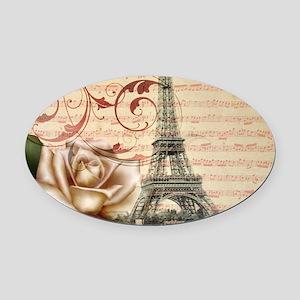 girly rose eiffel tower paris Oval Car Magnet