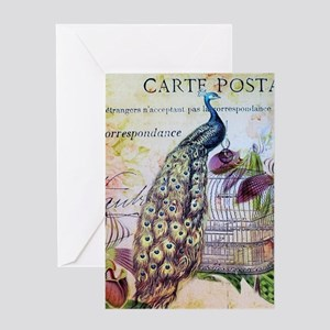 paris orchid birdcage peacock Greeting Cards