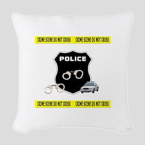 Police Crime Scene Woven Throw Pillow