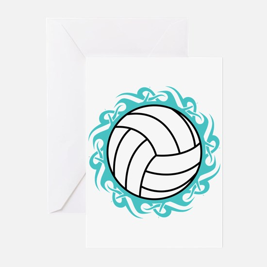 tribal volleyball Greeting Cards
