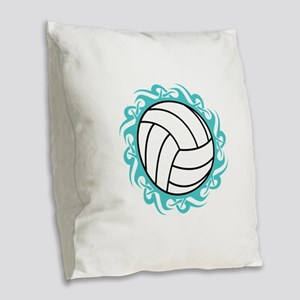 tribal volleyball Burlap Throw Pillow