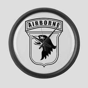 101st Airborne stencil Large Wall Clock