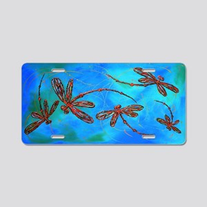 Dragonfly Flit Red Splash Aluminum License Plate