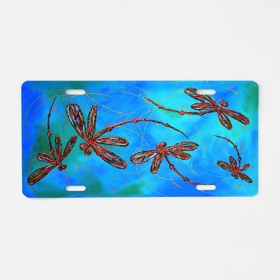 Dragonfly Flit Red Splash Aluminum License Plate
