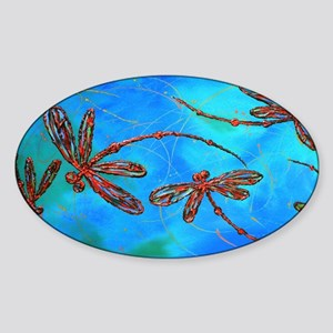 Dragonfly Flit Red Splash Sticker (Oval)