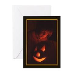Girl & Jack-O-Lantern - Halloween Card