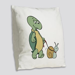 Walking the snail Burlap Throw Pillow