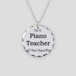 Piano Teacher Necklace Circle Charm