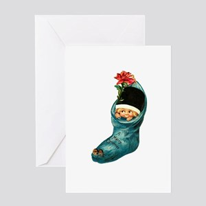 Vintage Christmas Stocking Cutie Greeting Card