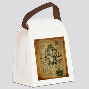 french scripts vintage chandelier Canvas Lunch Bag