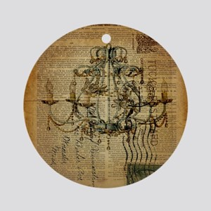 french scripts vintage chandelier Round Ornament