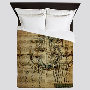 french scripts vintage chandelier Queen Duvet