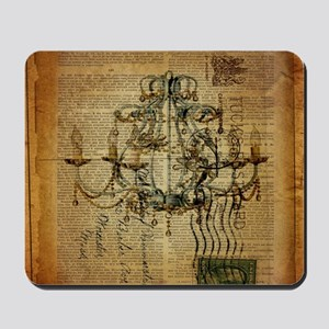 french scripts vintage chandelier Mousepad