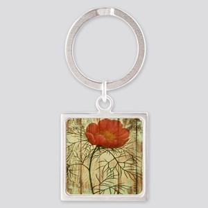 rustic paris poppy flower Square Keychain