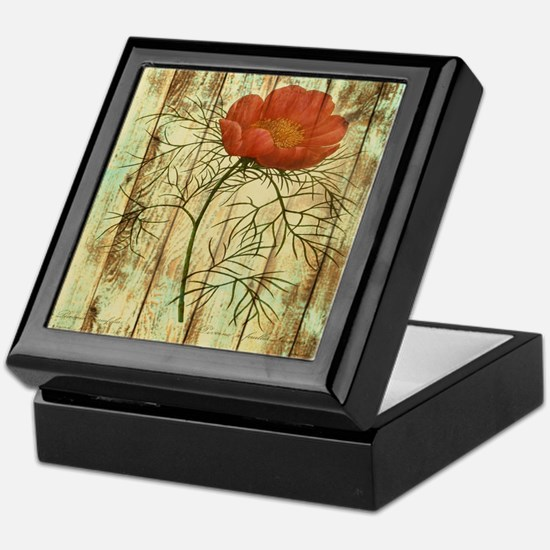 rustic paris poppy flower Keepsake Box