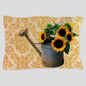 yellow damask primitive sunflower Pillow Case