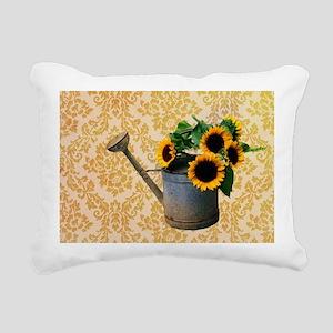 yellow damask primitive Rectangular Canvas Pillow
