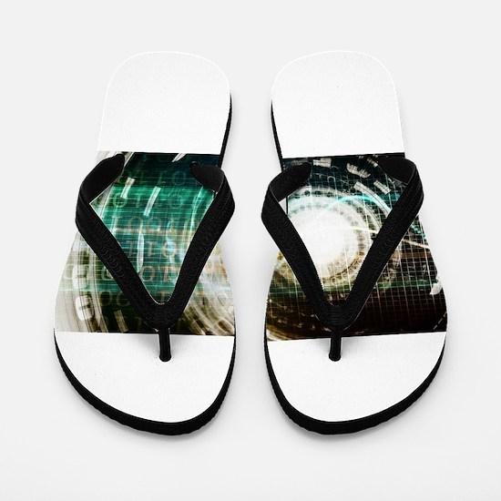 Futuristic Technol Flip Flops