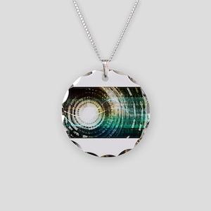 Futuristic Technol Necklace Circle Charm