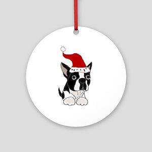 Boston Terrier Dog Christmas Round Ornament