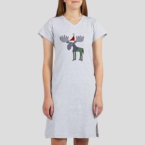 Funny Moose in Santa Hat  Women's Nightshirt