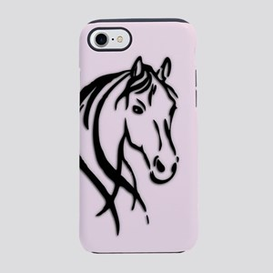 Black Horse Head on Pink iPhone 8/7 Tough Case