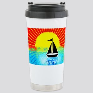 sky on fire sailboat Stainless Steel Travel Mug