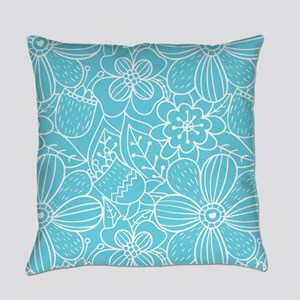 Turquoise Hand Drawn Flower Outlin Everyday Pillow