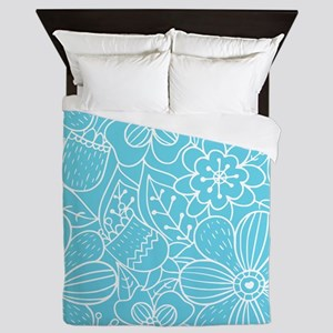 Turquoise Hand Drawn Flower Outline Pa Queen Duvet