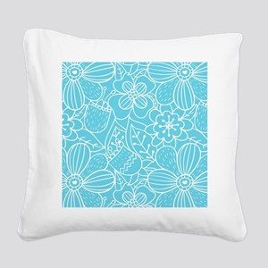 Turquoise Hand Drawn Flower O Square Canvas Pillow