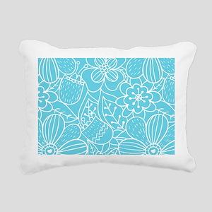 Turquoise Hand Drawn Flo Rectangular Canvas Pillow