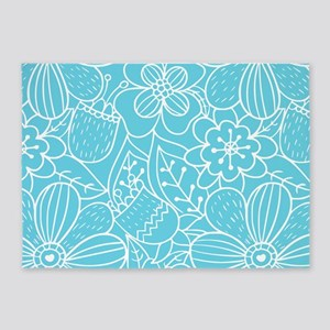 Turquoise Hand Drawn Flower Outline 5'x7'Area Rug