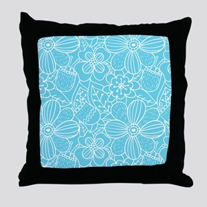 Turquoise Hand Drawn Flower Outline P Throw Pillow